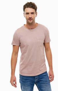 Однотонная футболка с нагрудным карманом Tom Tailor Denim