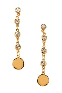 Золотистые серебряные серьги-цепочки с кристаллами Exclaim