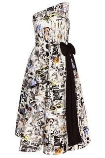Платье на одно плечо с принтом Prada