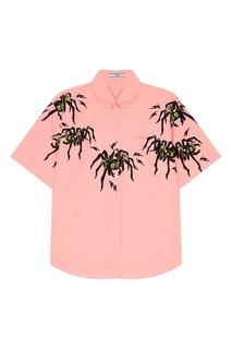 Розовая рубашка с пауками Prada
