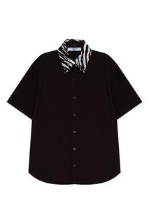 Черная рубашка с декоративным воротником Prada