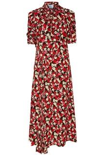 Платье-миди с принтом и завязкой Prada