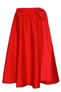 Красная юбка с крупными складками Prada