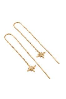 Серебряные серьги-цепочки со звездами Exclaim