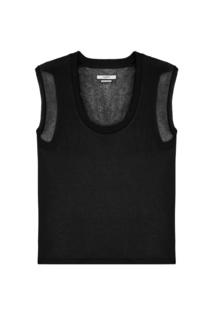 Черная футболка с шелком и кашемиром Isabel Marant Etoile