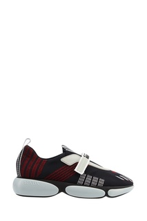 Черные кроссовки с отделкой тканью Prada