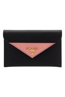 Черный кожаный кошелек Prada