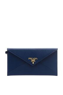 Синий клатч с логотипом Prada