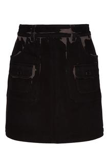 Черная юбка с карманами и принтом Prada