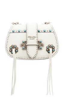 Белая сумка с заклепками Prada