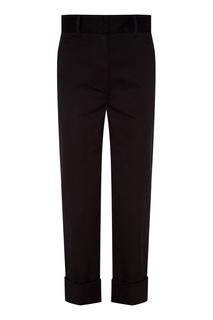 Черные брюки с подворотами Prada