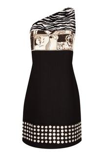 Асимметричное мини-платье с отделкой Prada