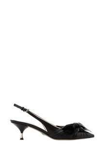 Черные туфли с крупными бантами Prada