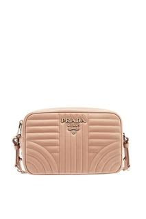Розовая сумка из стеганой кожи Diagramme Prada