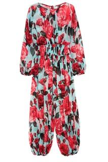 Платье-макси из шелка с розами Dolce & Gabbana