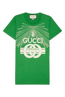 Зеленая футболка с кристаллами Gucci