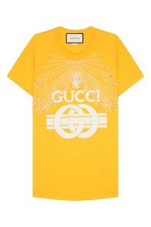 Желтая футболка с кристаллами Gucci
