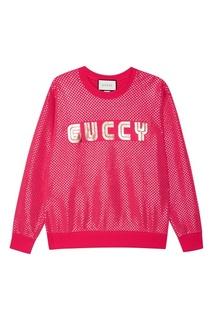 Розовый свитшот с ламинированным принтом Gucci
