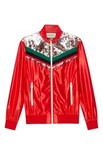 Красная олимпийка с пайетками Gucci