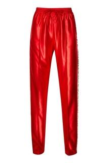 Красные брюки с лампасами из пайеток Gucci