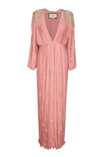 Розовое платье из плиссированного шелка Gucci