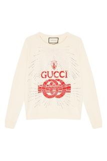 Белый свитшот с логотипом и кристаллами Gucci
