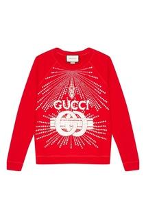 Красный свитшот с кристаллами Gucci