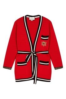 Красный хлопковый кардиган Gucci