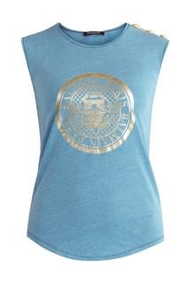 Синяя хлопковая футболка с логотипом Balmain