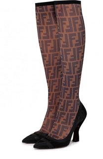 Текстильные сапоги на фигурном каблуке Fendi