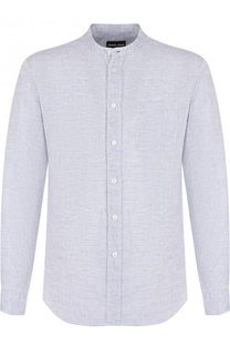 Льняная рубашка с воротником стойкой Giorgio Armani