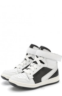 Высокие кожаные кеды на шнуровке с застежками велькро Givenchy
