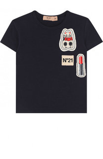 Хлопковая футболка с нашивками No. 21