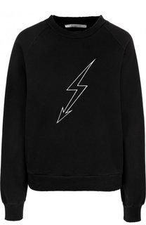 Хлопковый пуловер с круглым вырезом и принтом Givenchy