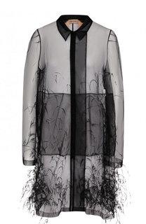 Полупрозрачное пальто с перьевой отделкой No. 21