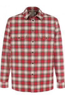 Хлопковая рубашка в клетку с аппликацией на спине Gucci