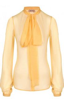 Полупрозрачная шелковая блуза с воротником аскот No. 21