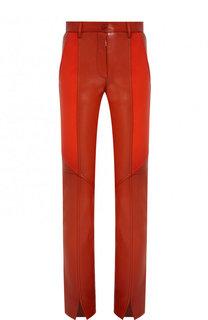 Кожаные брюки с контрастными вставками Givenchy