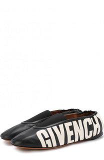 Кожаные балетки с логотипом бренда Givenchy