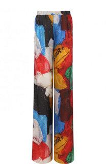 Шелковые брюки свободно кроя с принтом Vionnet