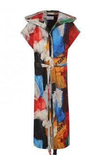 Хлопковое пальто с поясом и принтом Vionnet