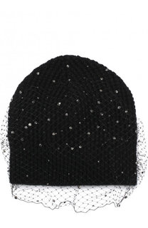 Шерстяная шапка с отделкой из страз и сеточкой Jennifer Behr