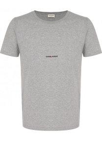 Хлопковая футболка с логотипом бренда Saint Laurent