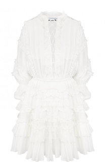 Шелковое мини-платье с оборками Faith Connexion