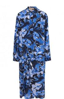 Шелковое платье-миди свободного кроя с принтом Michael Kors Collection