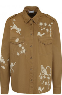 Хлопковая блуза с накладными карманами и принтом REDVALENTINO