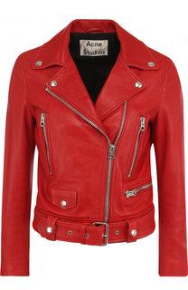 Однотонная кожаная куртка с косой молнией Acne Studios