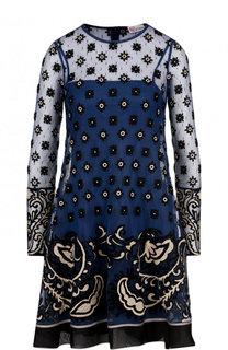 Мини-платье с круглым вырезом и контрастной отделкой REDVALENTINO