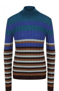 Шерстяной облегающий пуловер в полоску Marni
