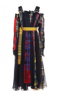 Хлопковое платье с поясом и принтом Sacai